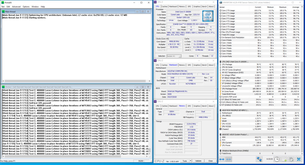 core i5-10600k 5000 mhz prime 95