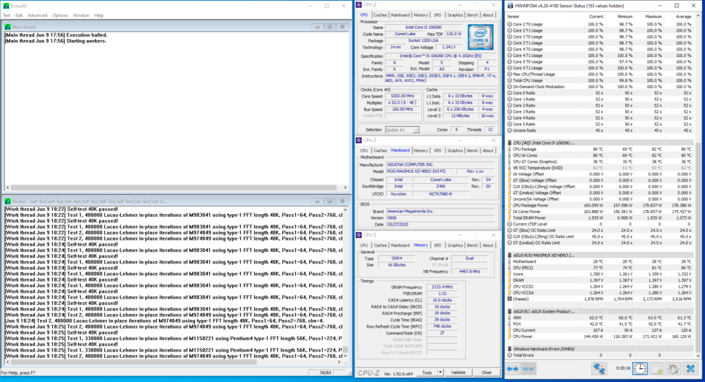 core i5-10600k 5200 mhz prime 95