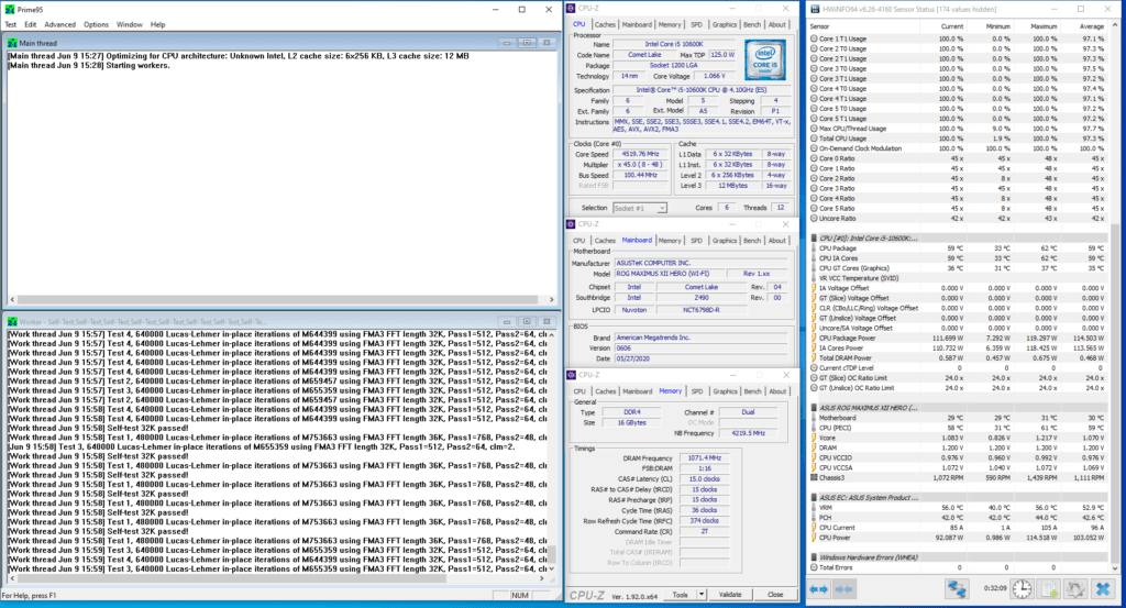core i5-10600k prime95 stock