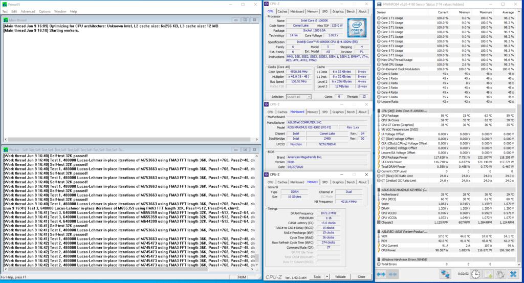 core i5-10600k 4500mhz prime95