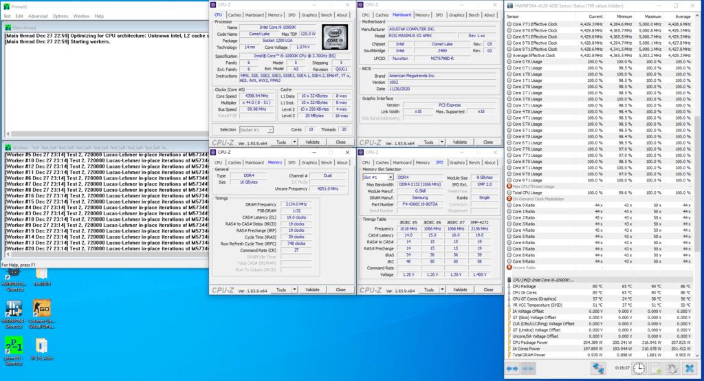 core i9-10900k cryo 4166mhz prime95
