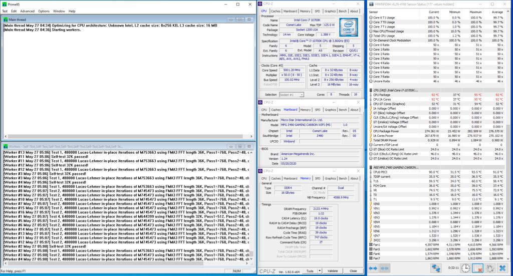 core i7-10700k 5000mhz prime95