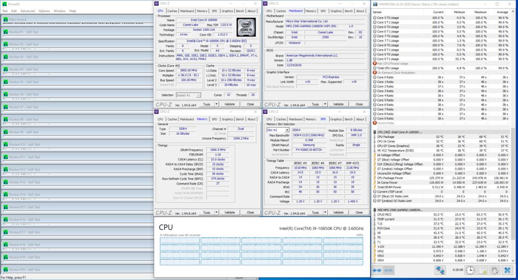 core i9-10850k 3800 mhz prime 95