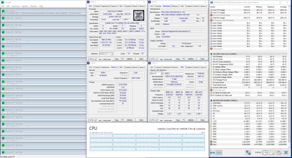 core i9-10850k 5000 mhz prime 95