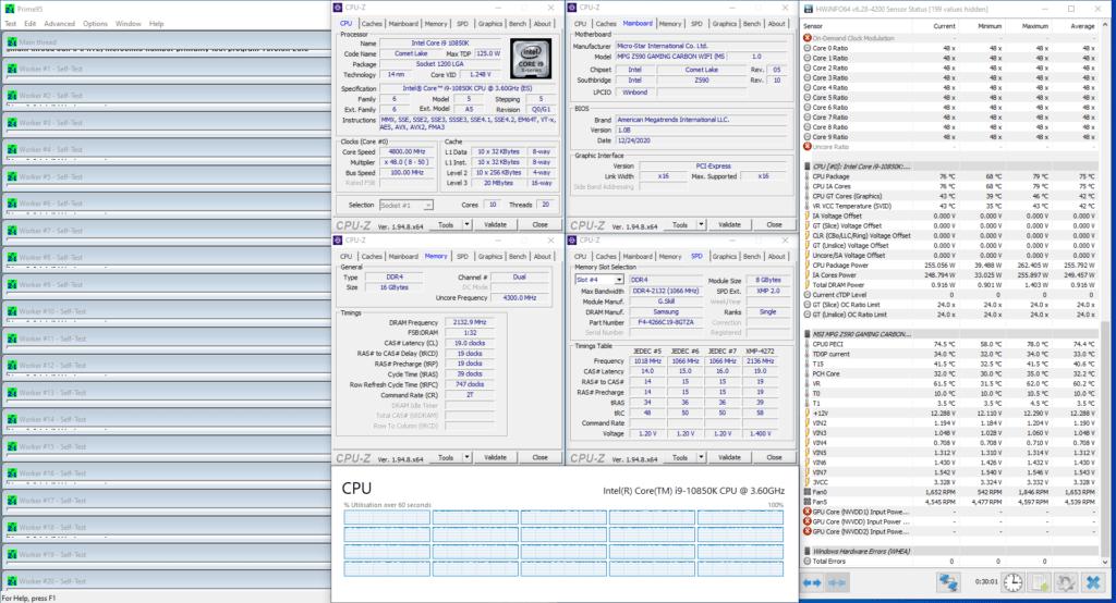core i9-10850k 4800 mhz prime 95