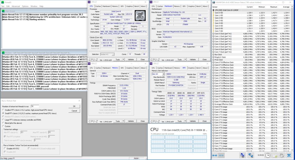 11900K prime95 modern oc avx