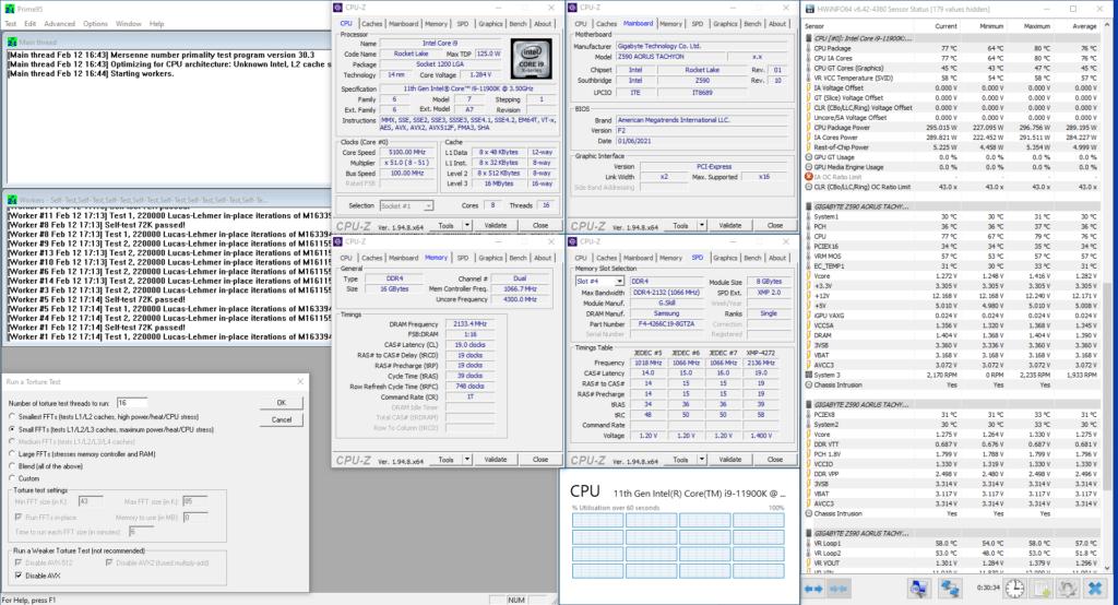 11900K prime95 modern oc non-avx