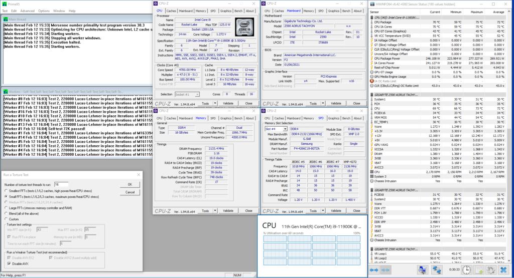 11900K prime95 traditional oc non-avx