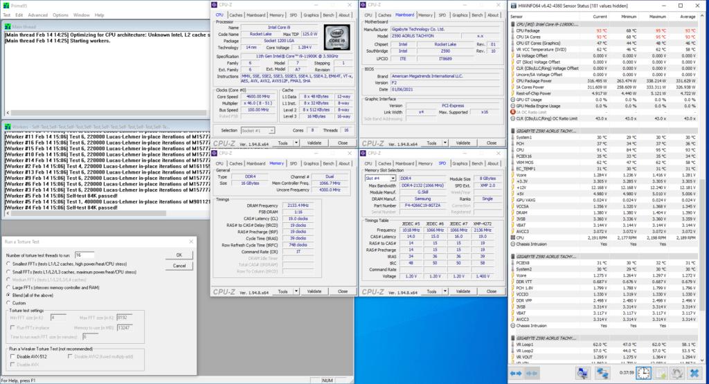 11900K prime95 traditional oc avx
