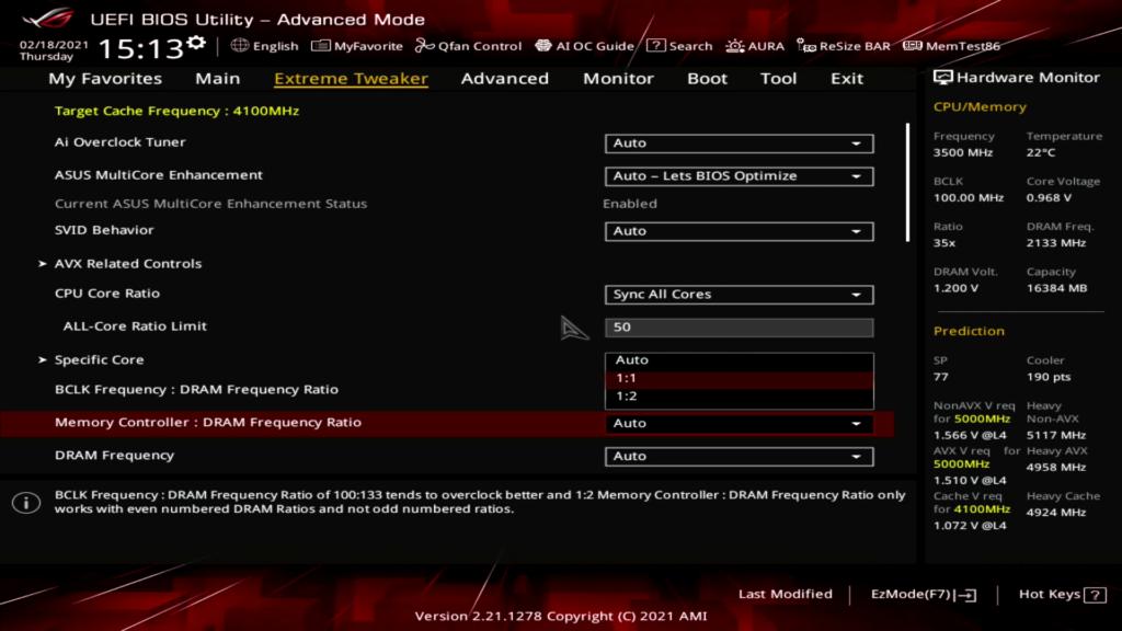 Memory Gear Mode ASUS ROG BIOS