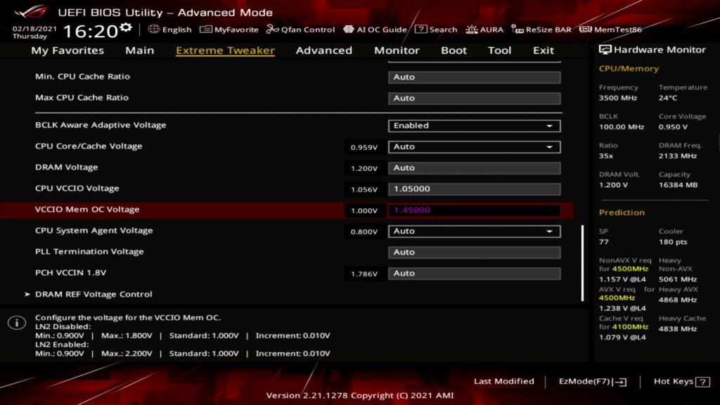 Rocket Lake 2x VCCIO BIOS