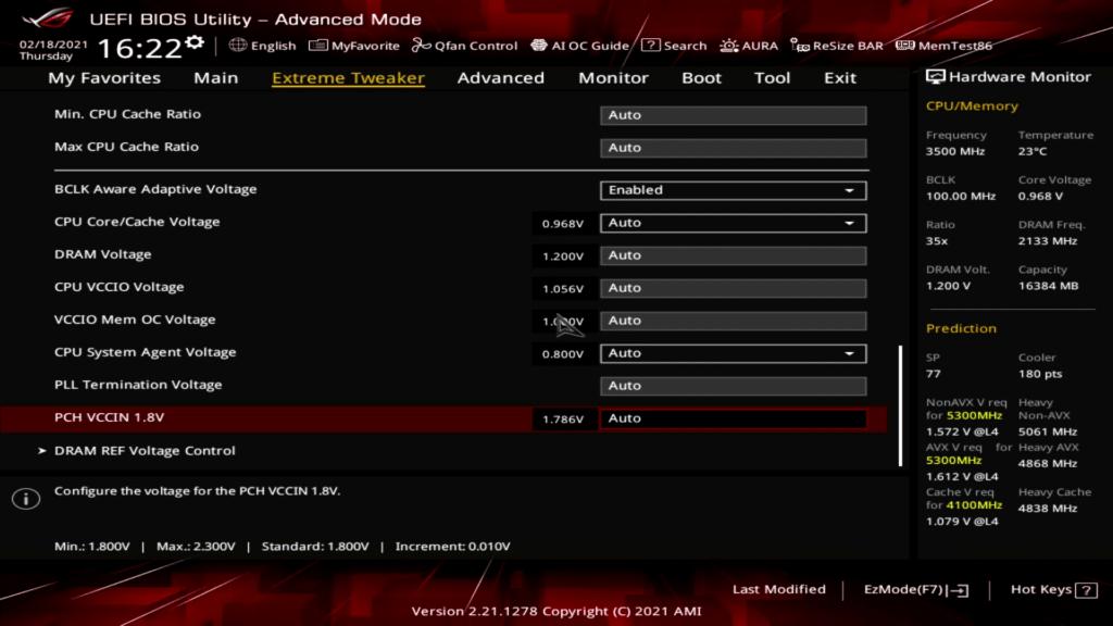 Rocket Lake PCH VCCIN FIVR BIOS