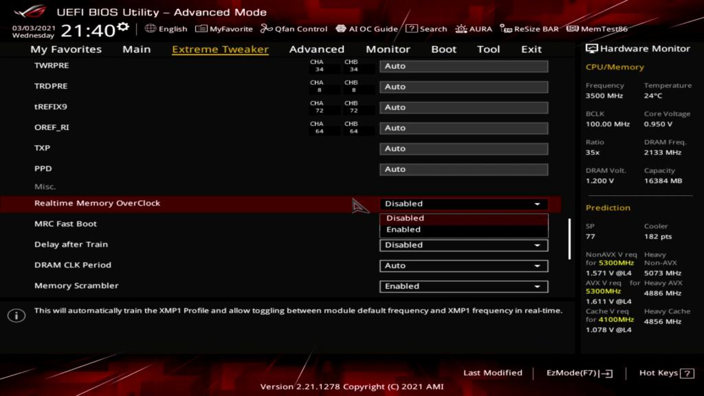 ASUS ROG Realtime memory overclock bios