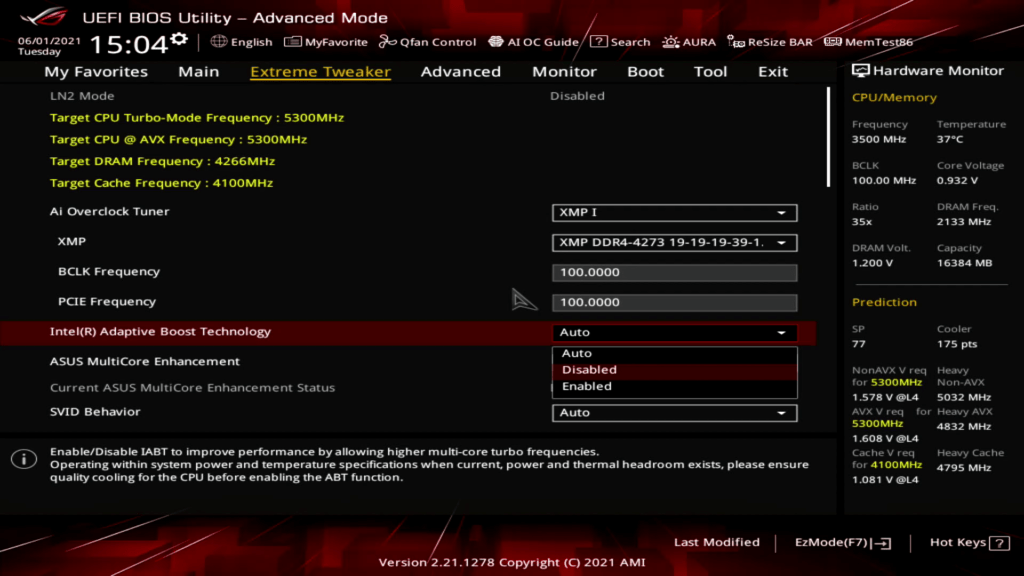 intel adaptive boost technology in Asus bios