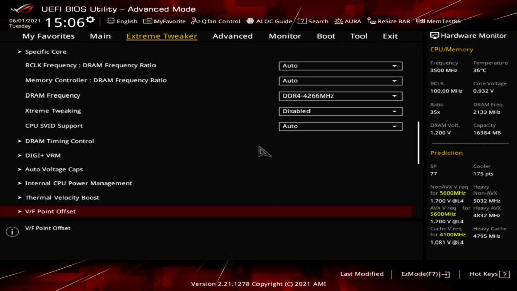 v/f point offset menu in ASUS bios