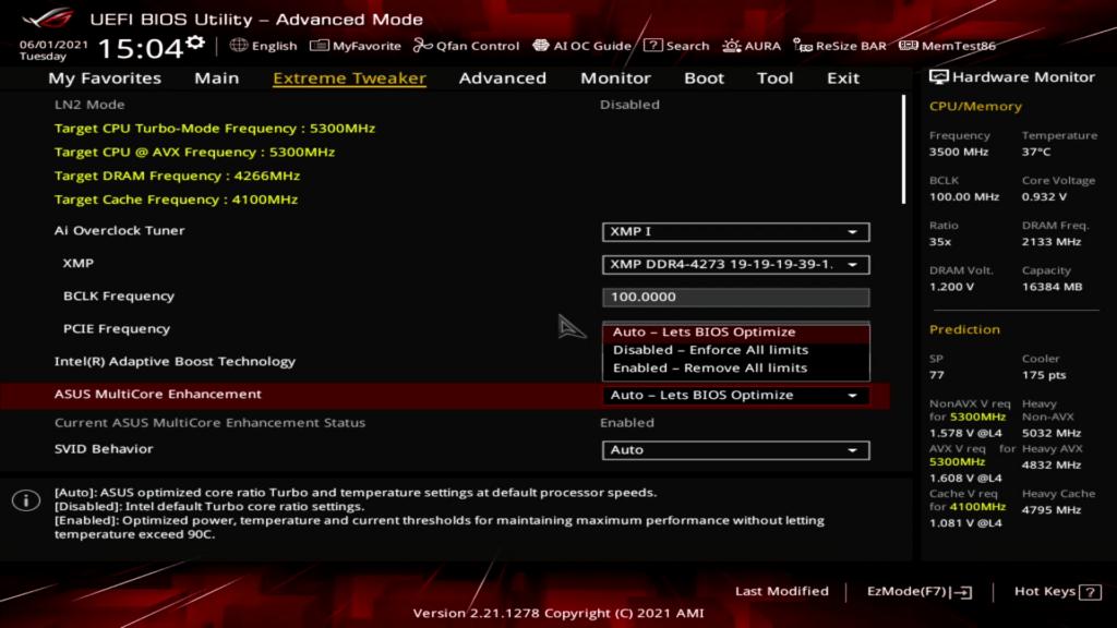 asus multicore enhancement bios